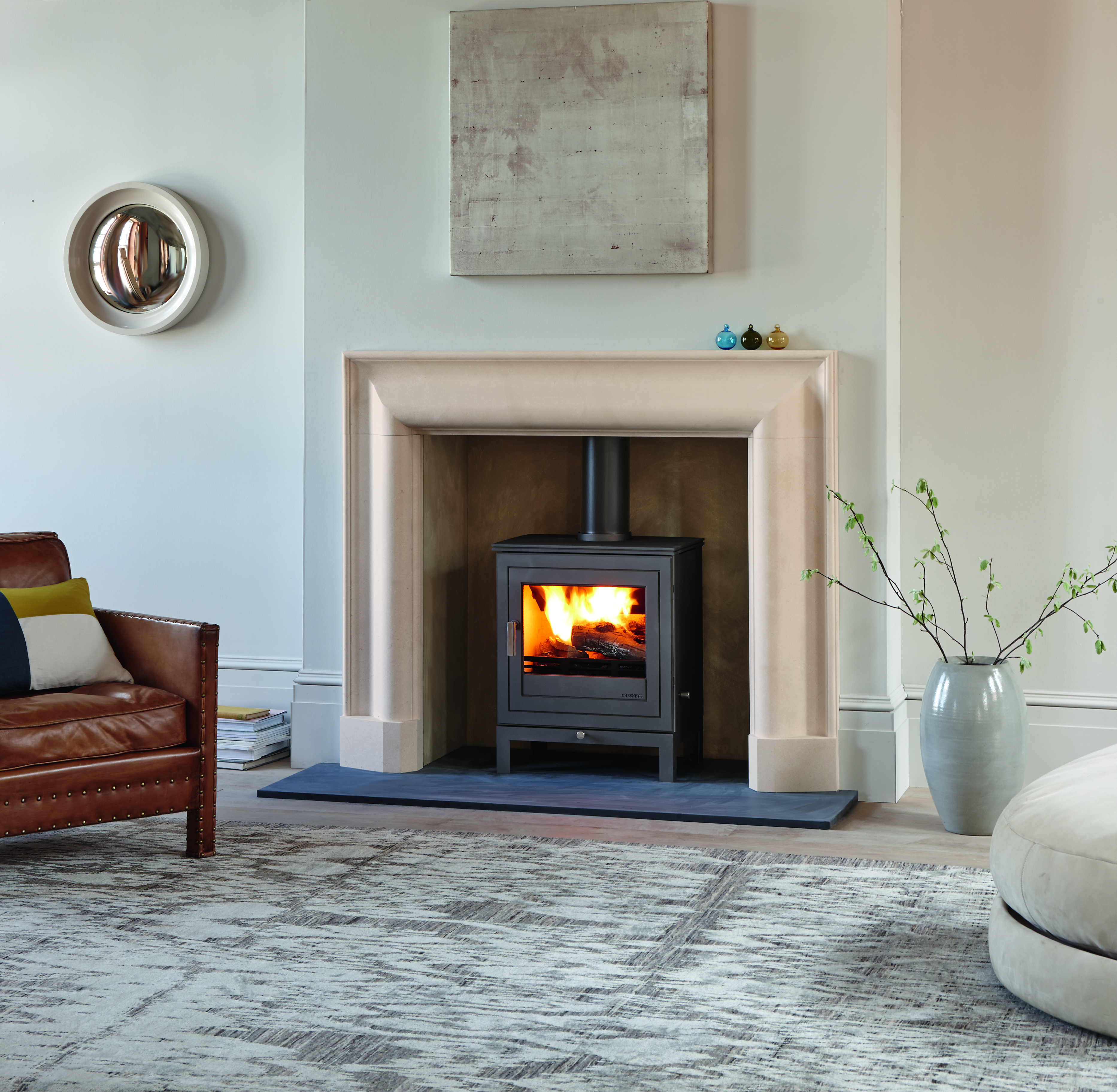 Chesneys Kent Bolection Fireplace and Shoreditch stoves at showroom Norwich