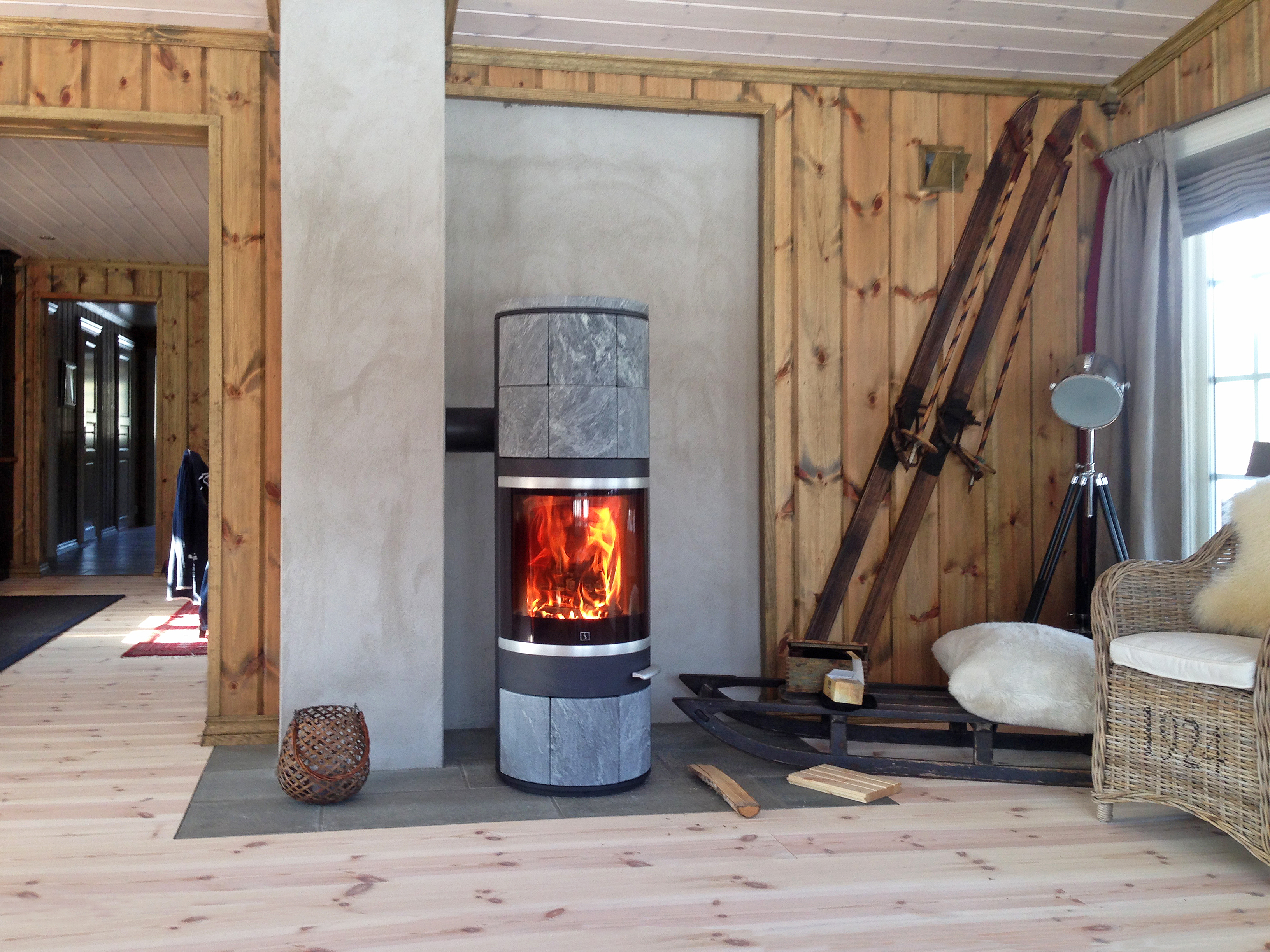 Scan 83 Wood Stove with Soap Stone in our showroom in Suffolk