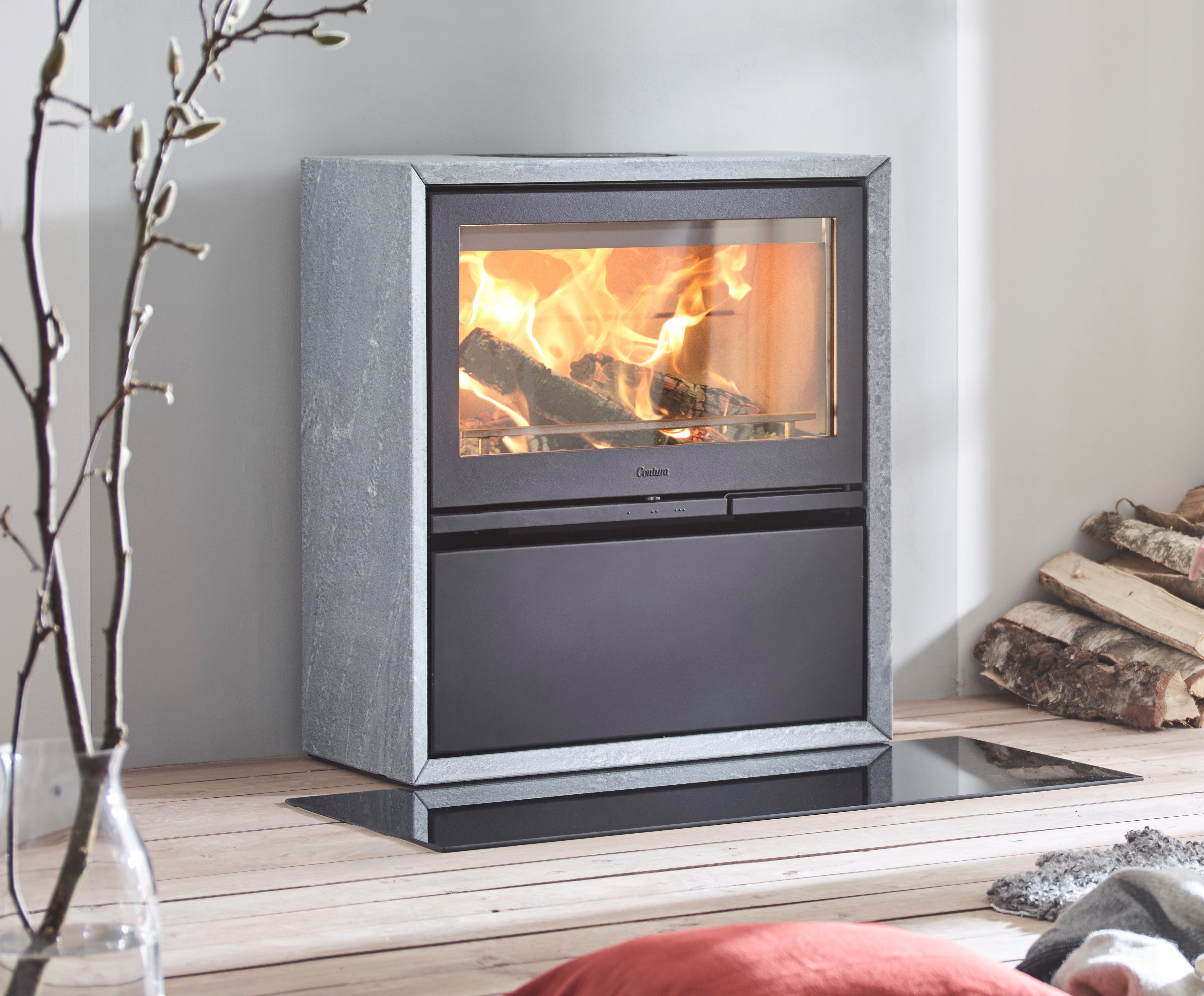 Contra 320 Wood Stove in Art Stone on Displat at our Showroom In Bury St Edmunds