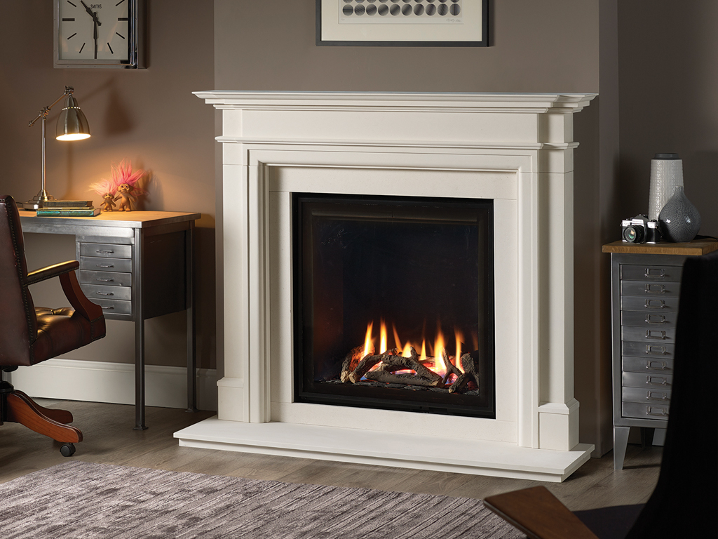 Colin Parker Washington Fire Place limestone with Gas insert on display at our showroom in Diss