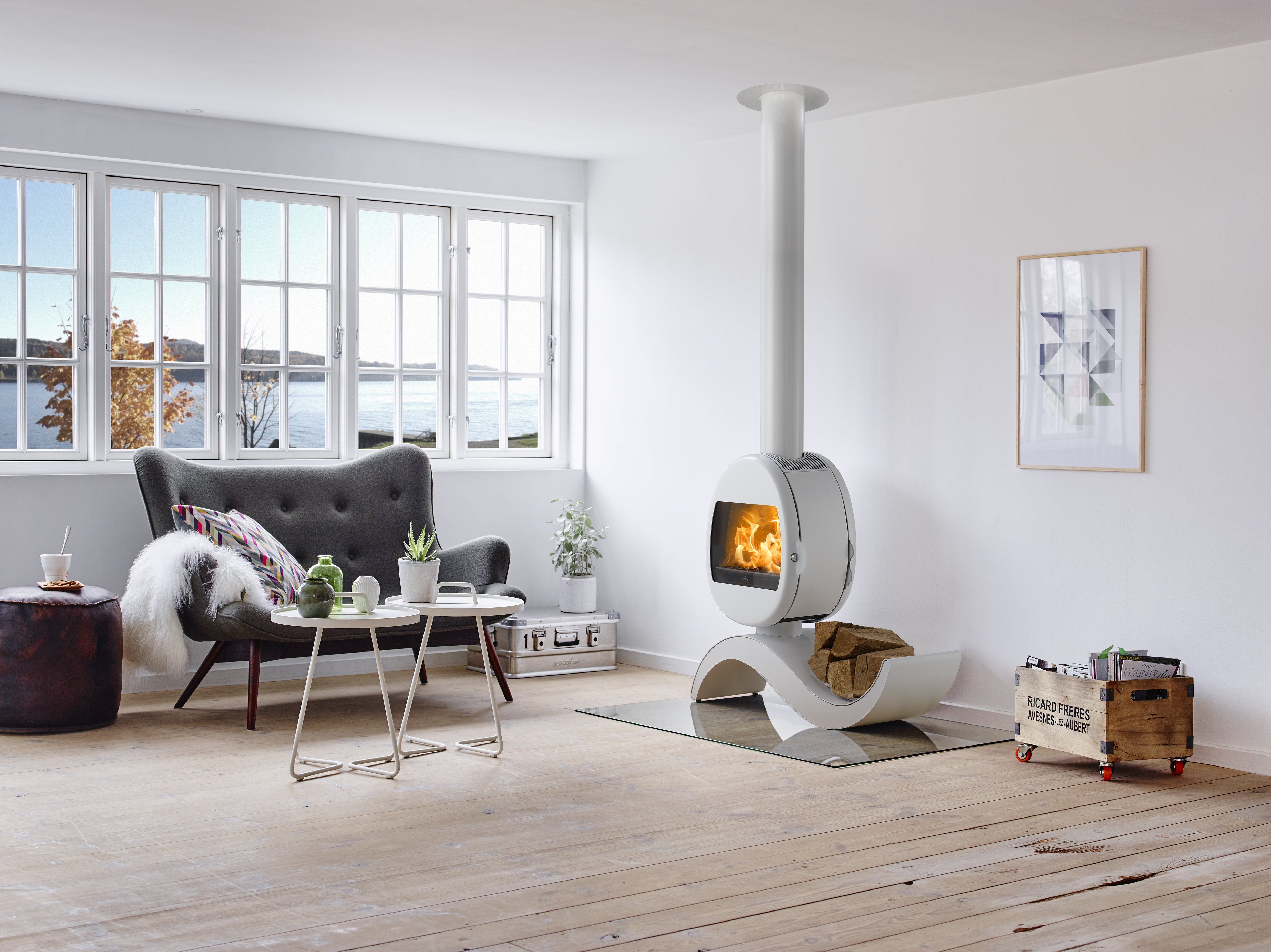 Scan 66 wood stove white or black paint on display at our showroom Near Norwich