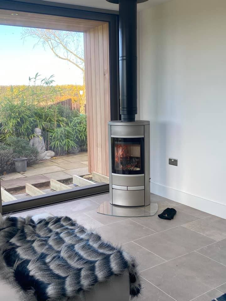 Scabn 68 Contemporay wood stove at showroom near Burt St Edmunds